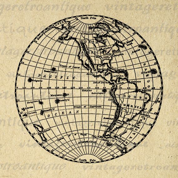Digital Printable Earth Globe Image Western Hemipshere Map Download Graphic Antique Clip Art Jpg Png Eps 18x18 HQ 300dpi No.3630 @ vintageretroantique.etsy.com #DigitalArt #Printable #Art #VintageRetroAntique #Digital #Clipart #Download