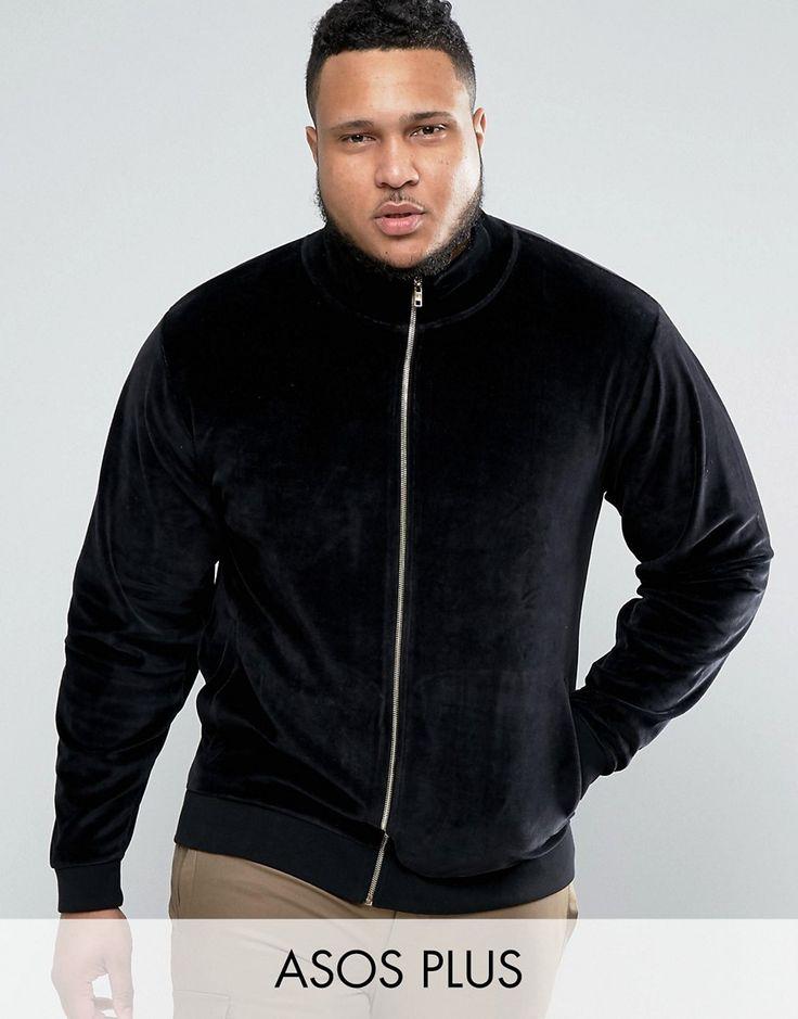 ASOS PLUS Jersey Track Jacket In Velour - Black