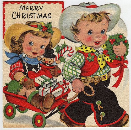 "Vintage Christmas Card ~ Little Cowgirl and Cowboy ""Merry Christmas"""