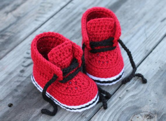 "Crochet Shoes for Baby Boys ""Chase"" Street Boot Crochet Pattern, Red Crochet Baby Boots, street shoes on Etsy, $5.57"