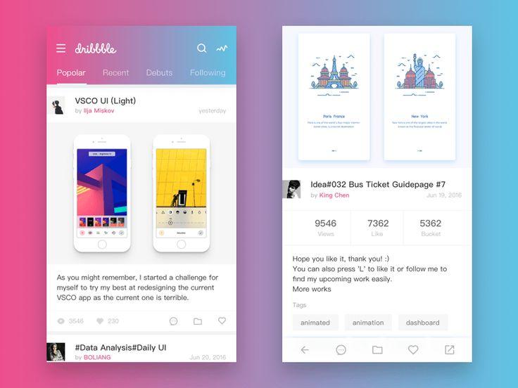 dribbble mobile client design