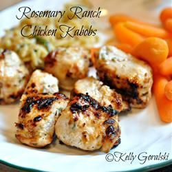 Rosemary Ranch Chicken Kabobs....this is one of my favorite chicken grilling marinades. I actually like to flatten the chicken breasts out thin and even and cook them that way...way easier than dealing with kabobs and so yummy. Goes great with rice and a salad~AG