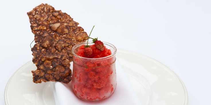 A vibrant strawberry granita recipe also contains a recipe for a thick, crunchy wafer, to serve alongside the granita. Greg Malouf serves up the perfect summer dessert