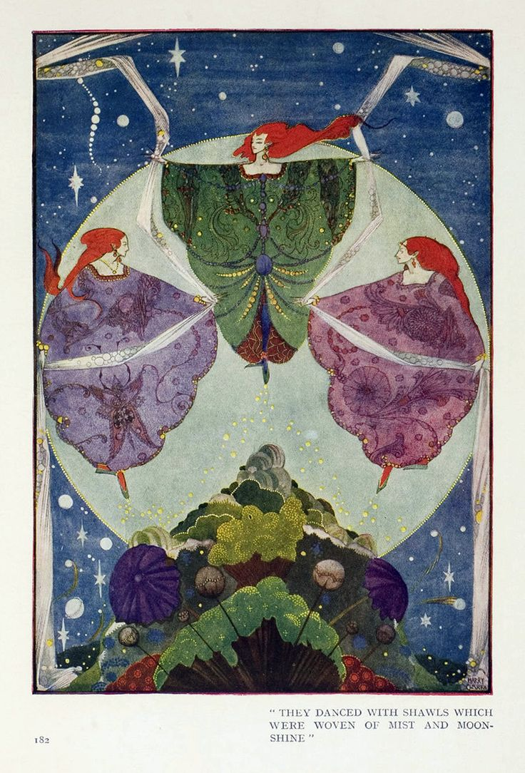 """12. """"They danced with shawls which were woven of mist and moonshine.""""  --- THE ELF-HILL.  (p.182)    --- Harry Clarke Illustrations: Fairy Tales by Hans Christian Andersen"""