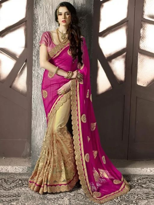 Pink and Cream Georgette Saree with Embroidery Work