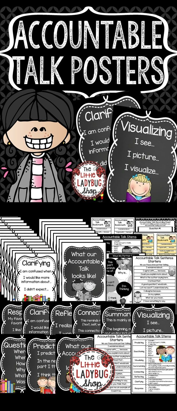 Accountable Talk Posters, Bookmarks, Graphic Organizers to use with ANY book! Increase Higher Level Thinking and Rigor in your classroom with these FANTASTIC Accountable Talk Posters, Student Charts, Bookmarks, and Graphic Organizer.
