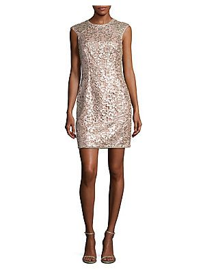 Aidan Aidan Mattox Sequined Lace Sheath Dress