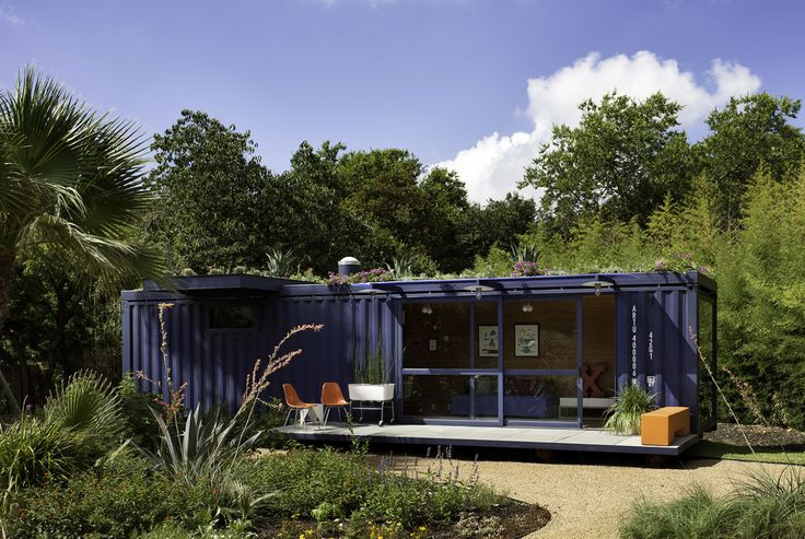 A guest house/garden retreat/playhouse made from a repurposed steel shipping container by Jim Poteet of Poteet Architects in San Antonio, Texas. For more on the project, see our Q&A with Poteet in The Architect Is In: Container as Guest House.