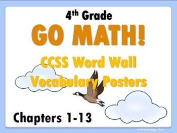 4th Grade Go Math! Word Wall Vocabulary Posters.  Save yourself loads of time with this visually stunning 112-page Go Math! Grade 4 Vocabulary Posters bundle! Includes each major vocabulary word that students will be introduced to with definitions for ALL 13 CHAPTERS in the Go Math! program. Perfect for hanging up on a Math Word Wall or in and around Math Centers! To be used with the Go Math! program but can be used for any Grade 4 Math Vocabulary Word Walls because they are Common Core…