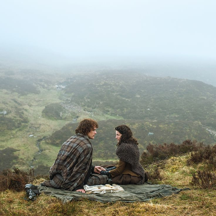 Newlyweds (of 2 days) Jamie & Claire Fraser share a meal with a stunning view of the Scottish Highlands. | Outlander S1E8 'Both Sides Now' on Starz