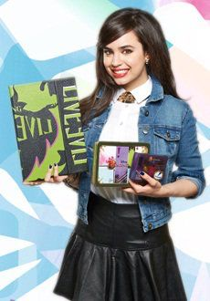 Sofia Carson showing us the descendants products