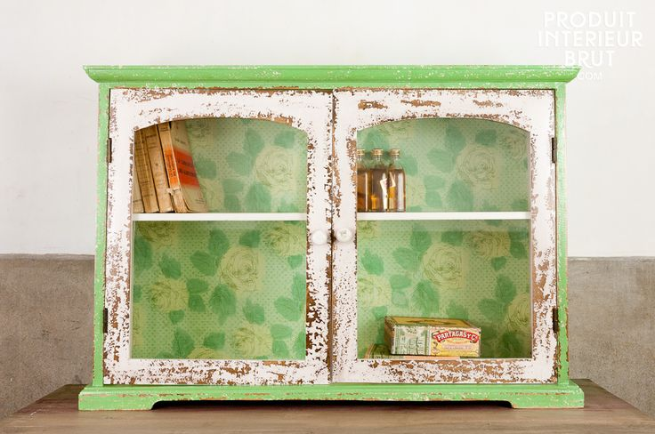 Glass-fronted shelving with a soft rustic feel to add a cosy feel to your shabby chic interior
