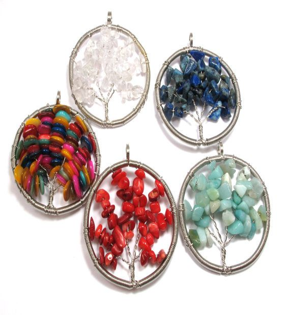 Wonderfull Tree of Life Pendant!Gemstone Chips!