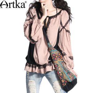 Artka Askar 2015 primăvară nouă culoare vraja de sex feminin etnic dantelă floare roz pal gri cămașă din bumbac cu mâneci lungi A03558 Pre