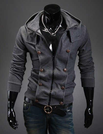 Stylish but basic grey double-breasted-look Button Accented Hoodie