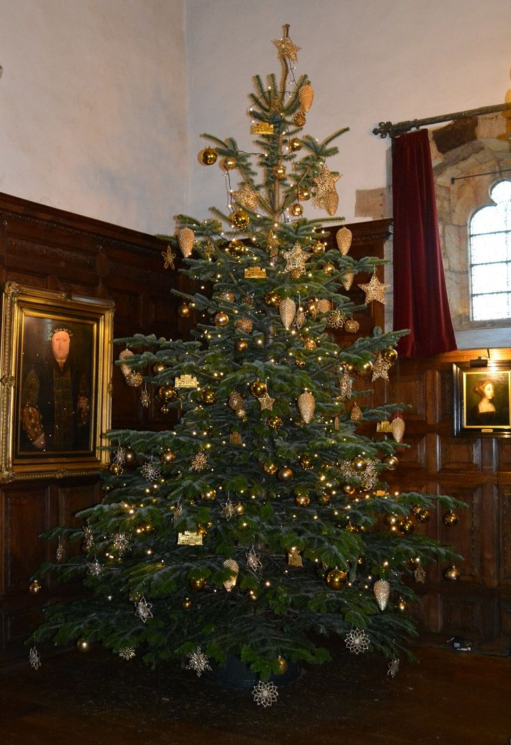 Christmas 2014 At Hever Castle  The Inner Hall Christmas Tree Decorated In  Gold