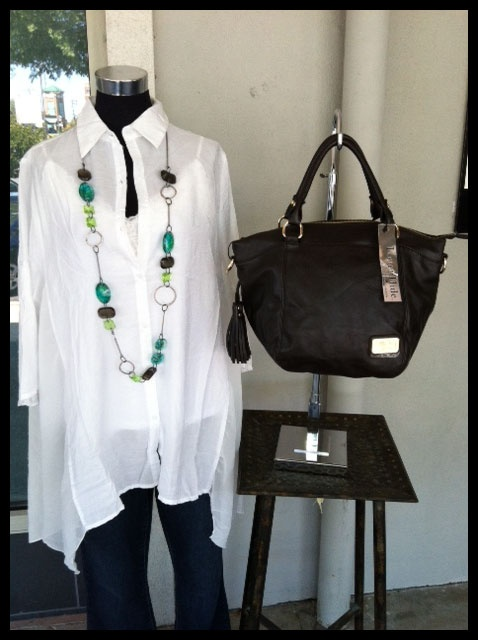 Great White Shirt with side panels of sheer fabric! Orna Lalo necklace and to top it off...NEW Louenhide bag!!