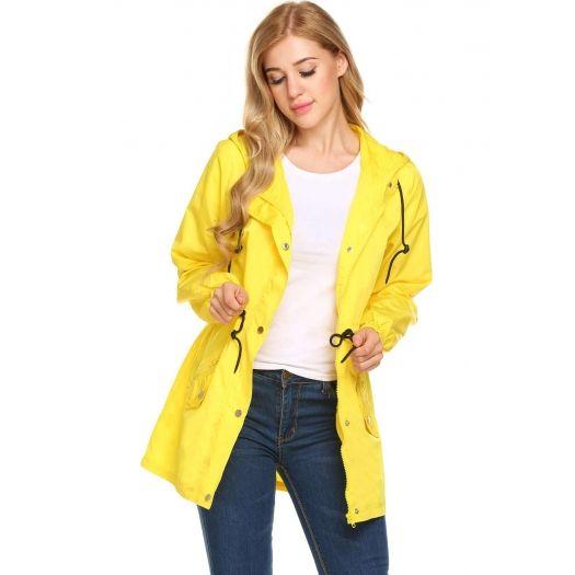 Yellow Women Zip Long Rainproof Raincoat