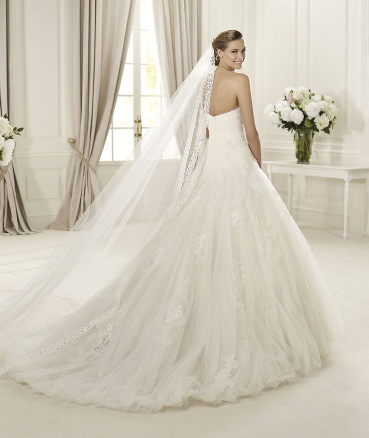 Exquisite A line Strapless Lace SweepBrush Train Tulle