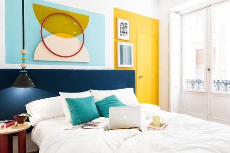 Renkli ve Ferah Yatak Odası Dekorasyonu tasarımları