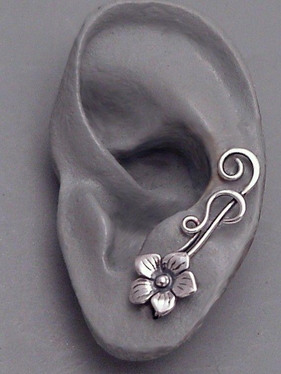 Sterling Flower Ear Pin Sweep - SUMMER - Single Sterling Silver Ear Pin Earring