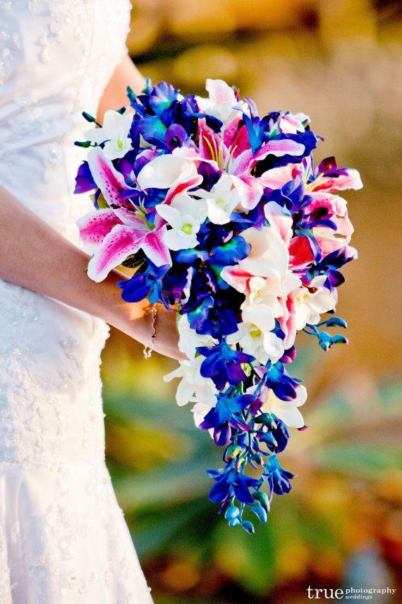 Keri's Cascade Bridal Bouquet 2nd Design,Rubrim Lilies, Blue Violet Dendrobium Orchids, Purple Iris, White Calla Lilies,Singapore,Galaxy