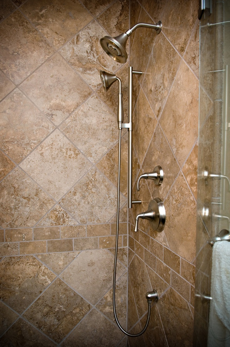 Travertine With Subway Tile Accent Border Bathroom Ideas
