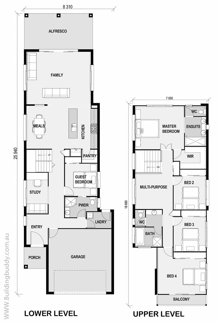 boronia small lot house floorplan by httpwwwbuildingbuddycom - Narrow Lot House Plans