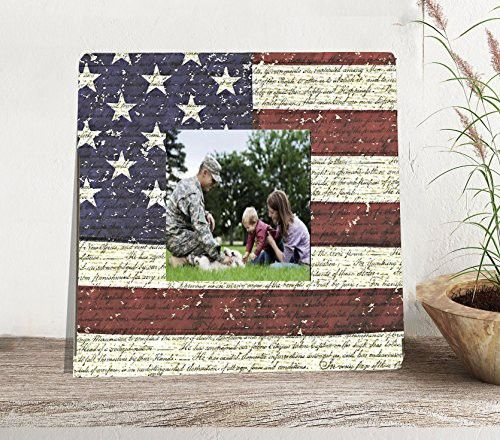 American Flag Patriotic Picture Frame, Rustic Flag Picture Frame Gift for Veterans, Military Family Home Decor, Declaration of Independence Frame