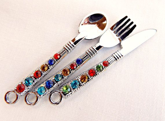 Rhinestone Pendants, 3 Utensil Pendants, Rhinestone Spoon, Silver Fork, Knife Pendant, Rhinestone Charms, UK Seller, Jewelry Supplies