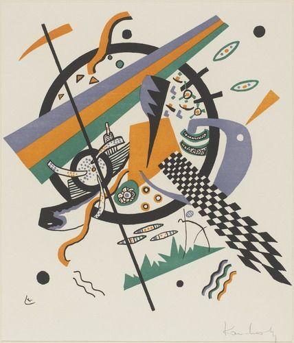Vassily Kandinsky (1866 - 1944)  Kleine Welten IV 1922 = ANN2ES 20 V2RITABLE TOURNANT CAR FAIT DE LA GEOMETRISATION DES FORMES