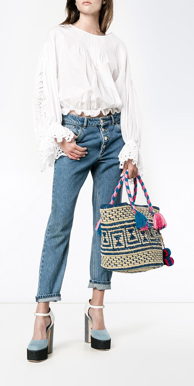 YOSUZI Manya woven tote with pouch, shop the latest arrivals at Farfetch now.
