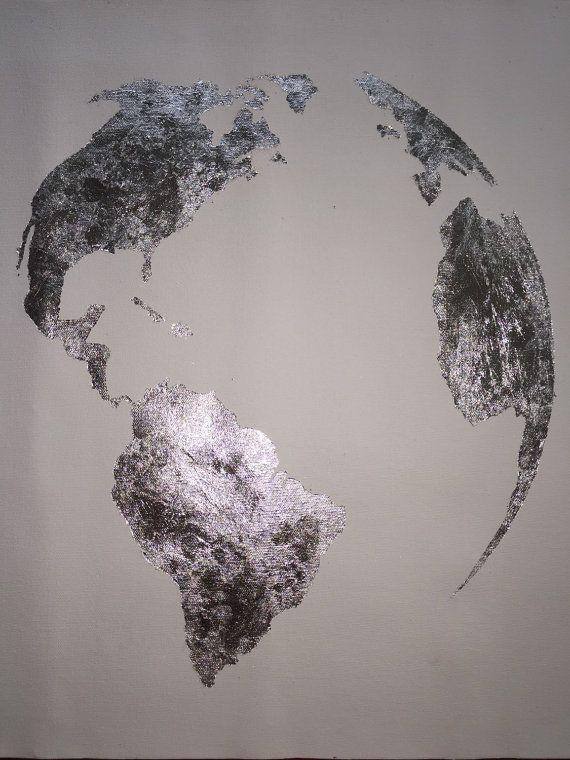 Silberfolie-Malerei-Karte der Welt Silberfolie von 10kiaatstreet