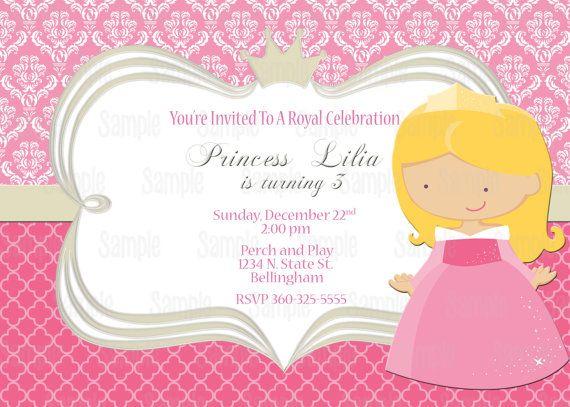Printable Sleeping Beauty Princess Aurora Birthday Party Invitation