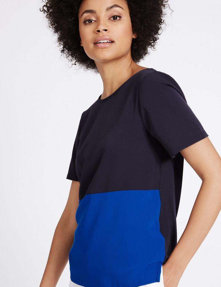 Marks & Spencer London - colour block short sleeve top