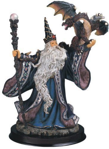 "9"" Wizard w/ Dragon Magician Fantasy Magic Merlin Blue Sorceror Figurine Figure"
