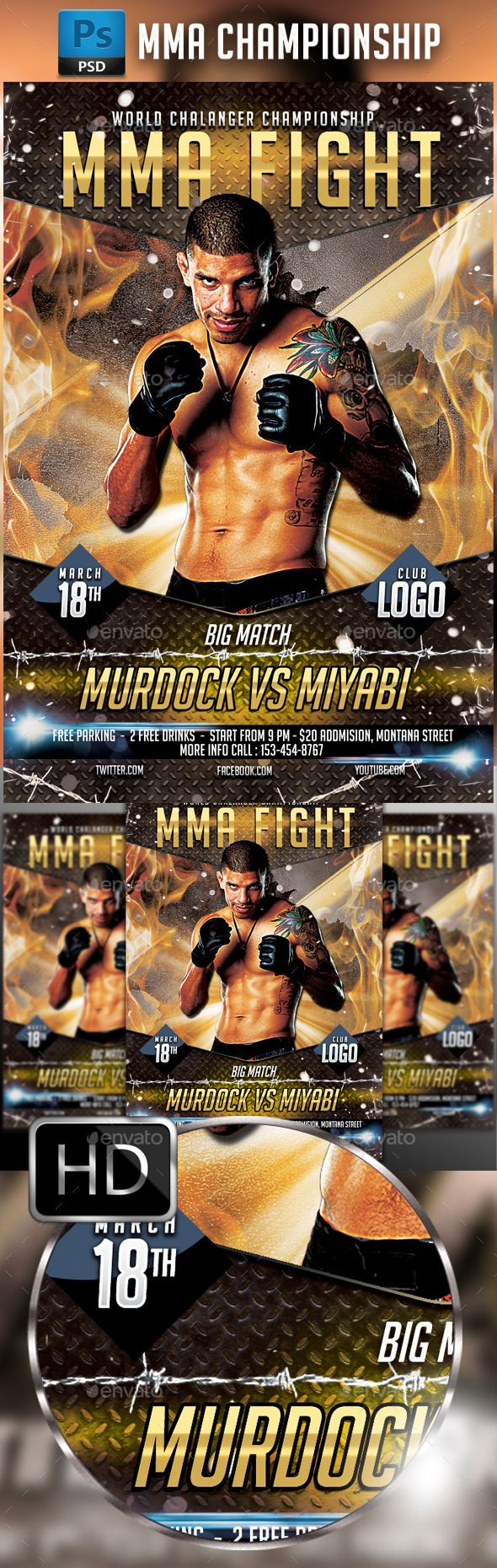 MMA Fighting Flyer Template #4