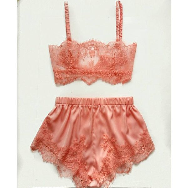 Lingerie set, peach lingerie, vintage lingerie, lace lingerie, French... ($60) ❤ liked on Polyvore featuring intimates, silk knickers, lace lingerie, lacy lingerie, satin knickers and silk lingerie