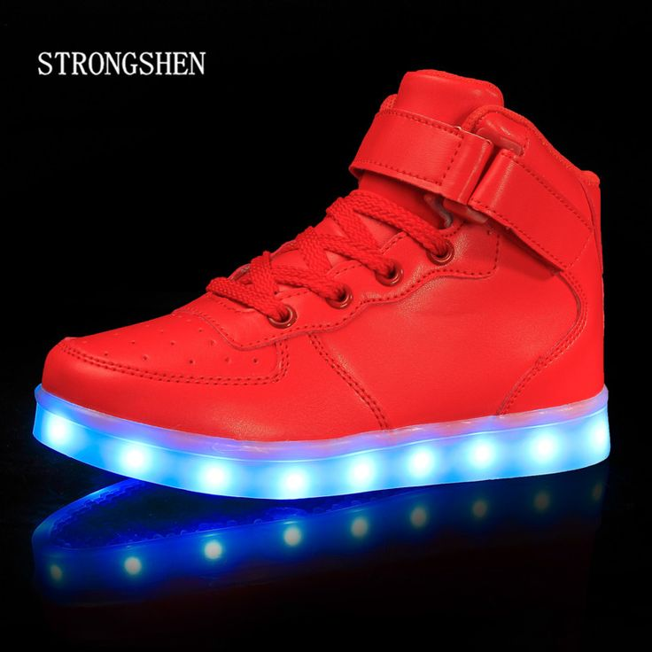 luminous shoes for kids LED light up shoes teenages can charging optical fiber shoes 31-39 20GEB