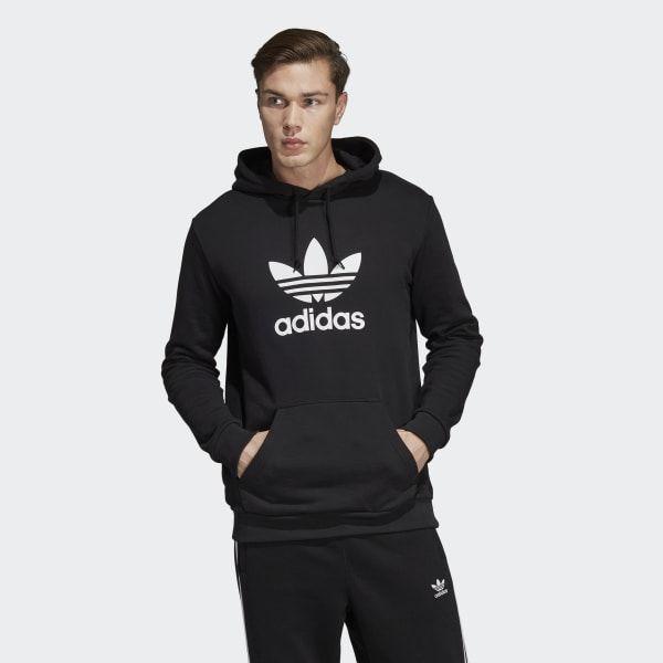Trefoil Hoodie Black Mens   Adidas trefoil hoodie, Mens