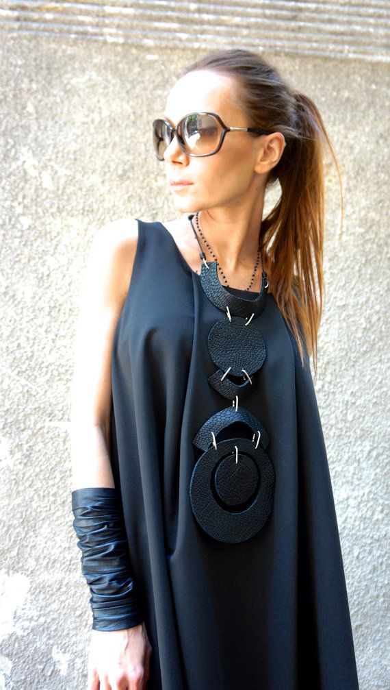 NEW Hot Collection SS/16 Black Extravagant Genuine Limited Edition Croco Leather Necklace / Unique Handmade Necklace by AAKASHA