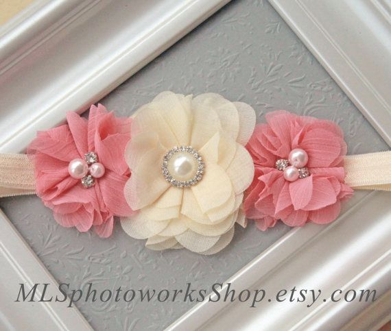 Vanilla & Rose Chiffon Flower Headband - Vintage Coloured Baby Girl Hair Bow in Light Cream and Rosey Antique Pink - Classical Newborn Bow on Etsy, $7.50