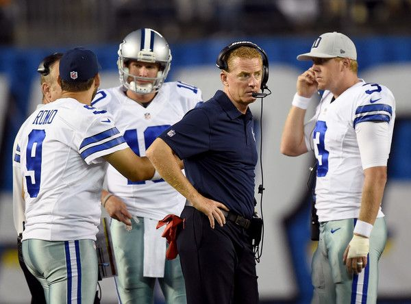 Tony Romo Photos Photos - Head Coach Jason Garrett of the Dallas Cowboys stands with Tony Romo #9,  Brandon Weeden #3 and  Dustin Vaughan #10 of the Dallas Cowboys during the game against the San Diego Chargers at Qualcomm Stadium on August 13, 2015 in San Diego, California. - Dallas Cowboys v San Diego Chargers