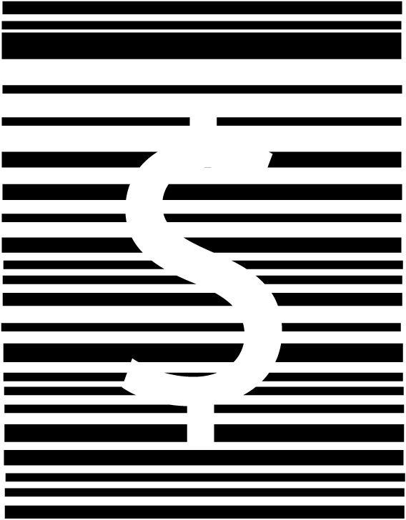 Trabalho 2 - criação de imagem com princípios da Gestalt. Usei as leis de figura e fundo presentes no sifrão que se mistura com o fundo branco; fechamento com a interrupção das linhas negras que formam este símbolo; e proximidade/semelhança nas linhas horizontais atrás, que trazem um aspecto rígido, mas inconstante devido ao espaçamento irregular das linhas.
