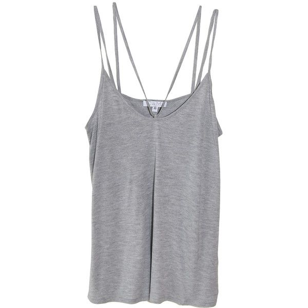 Cami NYC Aria Double Strap Tank in Grey found on Polyvore