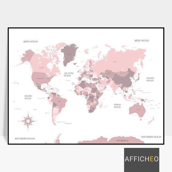 Mappemonde Rose Avec Les Noms Des Pays Et Leurs Capitales Grande