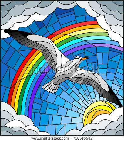 Illustration In Stained Glass Style With A Seagull On The Background Of Sky Sun