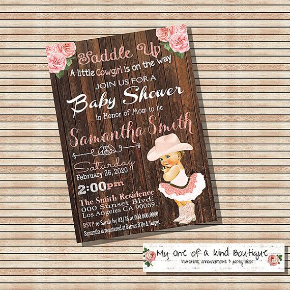 Cowgirl Baby Shower Uitnodiging vintage perzik door myooakboutique