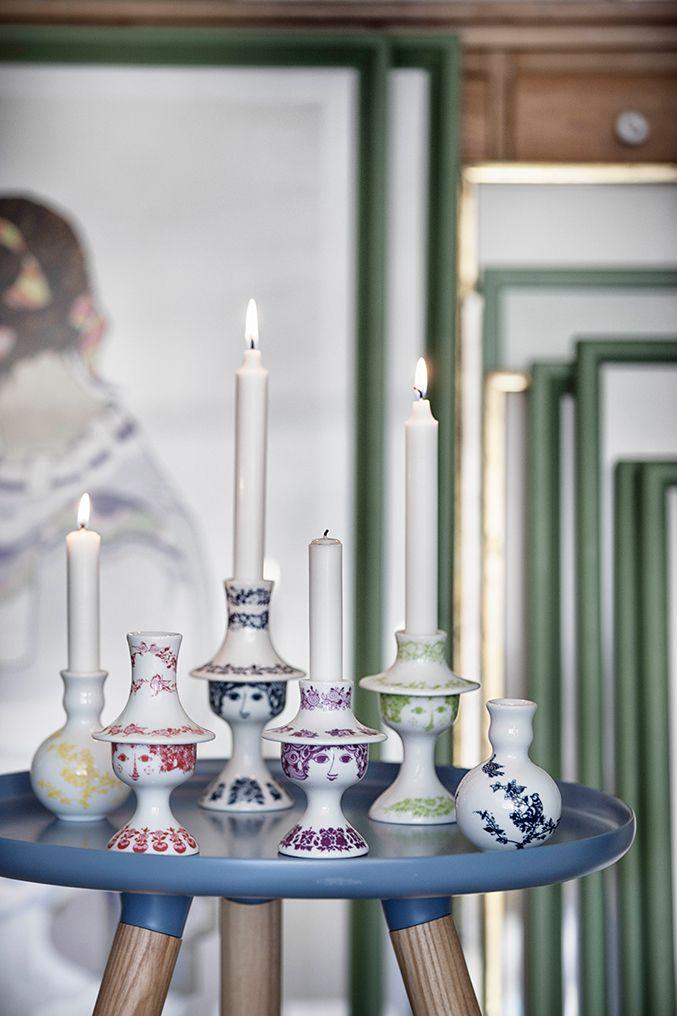 Candlesticks by Danish artist Bjorn Wiinblad