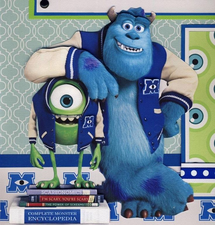 MONSTER UNIVERSITY ~ 2 premade scrapbook pages paper piecing layout 12x12 CHERRY
